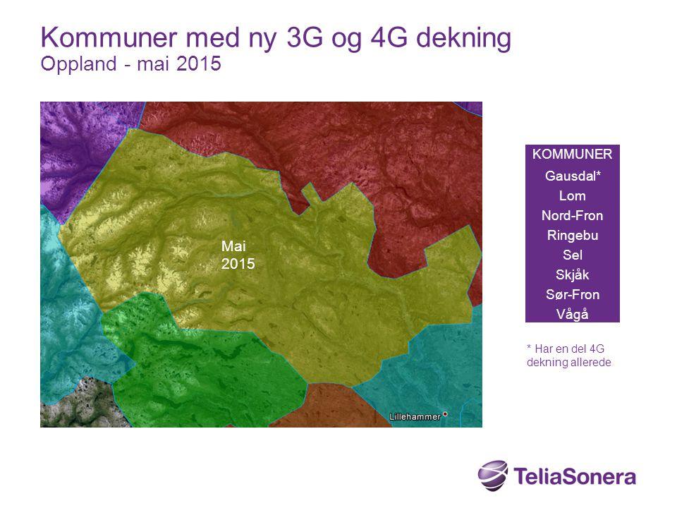 KOMMUNER Gausdal* Lom Nord-Fron Ringebu Sel Skjåk Sør-Fron Vågå Kommuner med ny 3G og 4G dekning Oppland - mai 2015 Mai 2015 * Har en del 4G dekning a