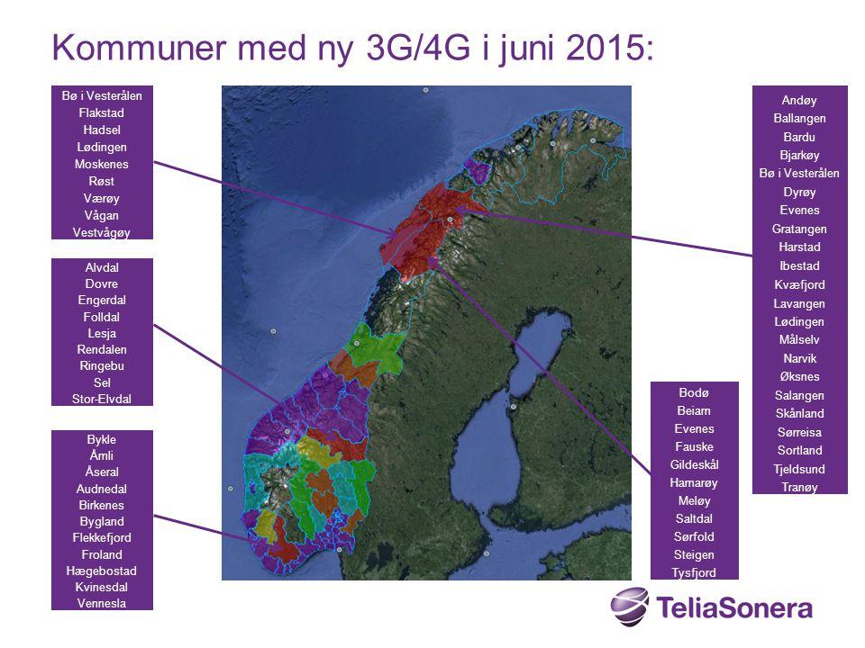 Kommuner med ny 3G/4G i juni 2015: Alvdal Dovre Engerdal Folldal Lesja Rendalen Ringebu Sel Stor-Elvdal Bodø Beiarn Evenes Fauske Gildeskål Hamarøy Me