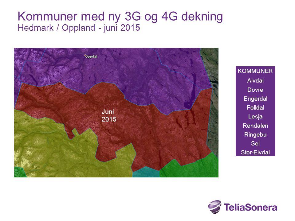 KOMMUNER Alvdal Dovre Engerdal Folldal Lesja Rendalen Ringebu Sel Stor-Elvdal Kommuner med ny 3G og 4G dekning Hedmark / Oppland - juni 2015 Juni 2015