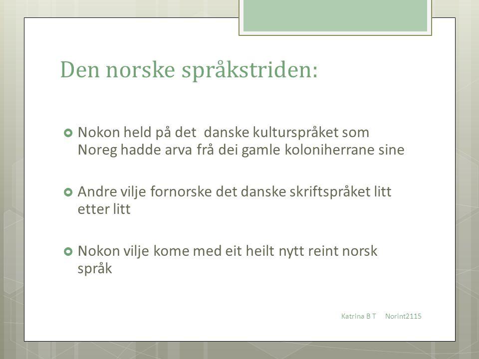 Den norske språkstriden:  Nokon held på det danske kulturspråket som Noreg hadde arva frå dei gamle koloniherrane sine  Andre vilje fornorske det da