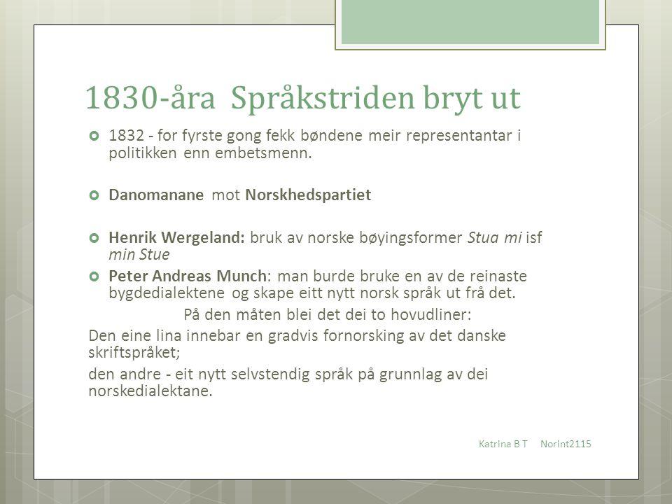 1830-åra Språkstriden bryt ut  1832 - for fyrste gong fekk bøndene meir representantar i politikken enn embetsmenn.  Danomanane mot Norskhedspartiet