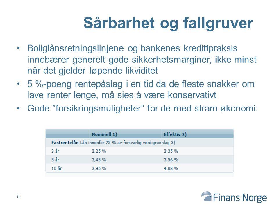 Boliglånsretningslinjene og bankenes kredittpraksis innebærer generelt gode sikkerhetsmarginer, ikke minst når det gjelder løpende likviditet 5 %-poen