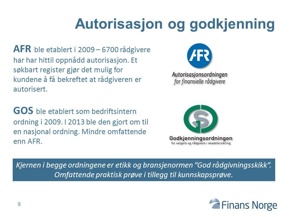 9 Autorisasjon og godkjenning AFR ble etablert i 2009 – 6700 rådgivere har har hittil oppnådd autorisasjon. Et søkbart register gjør det mulig for kun