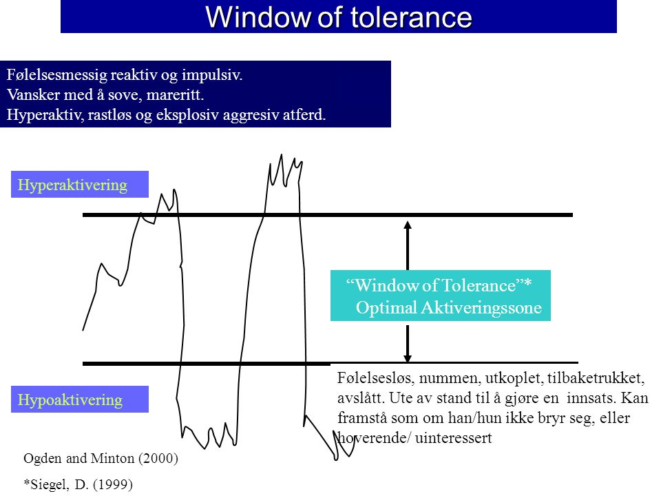 Window of tolerance Window of Tolerance * Optimal Aktiveringssone Følelsesmessig reaktiv og impulsiv.