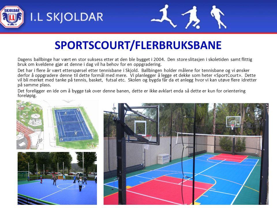 SPORTSCOURT/FLERBRUKSBANE Dagens ballbinge har vært en stor suksess etter at den ble bygget i 2004. Den store slitasjen i skoletiden samt flittig bruk