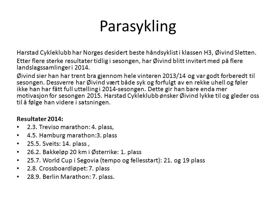 Harstad Cykleklubb har Norges desidert beste håndsyklist i klassen H3, Øivind Sletten. Etter flere sterke resultater tidlig i sesongen, har Øivind bli