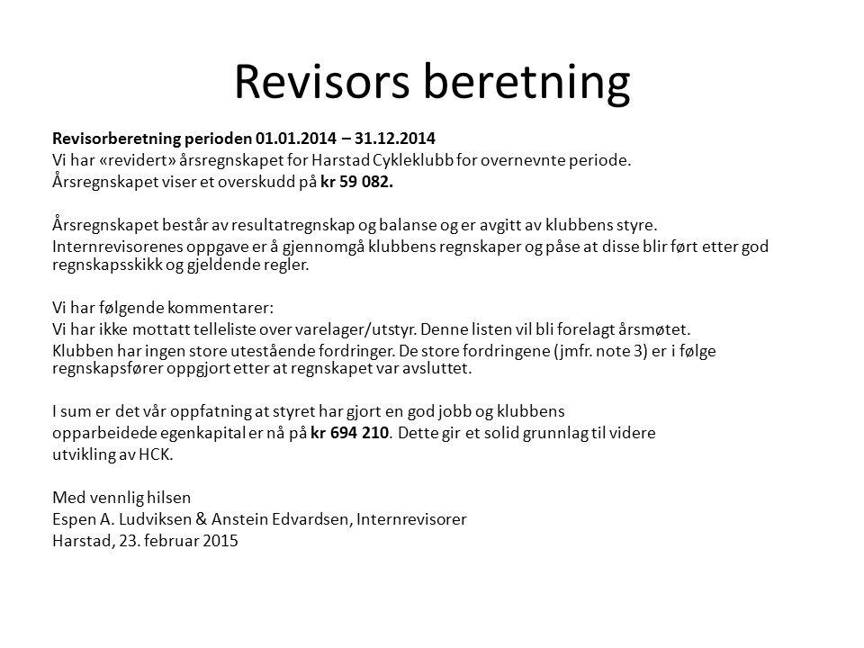 Revisors beretning Revisorberetning perioden 01.01.2014 – 31.12.2014 Vi har «revidert» årsregnskapet for Harstad Cykleklubb for overnevnte periode. År