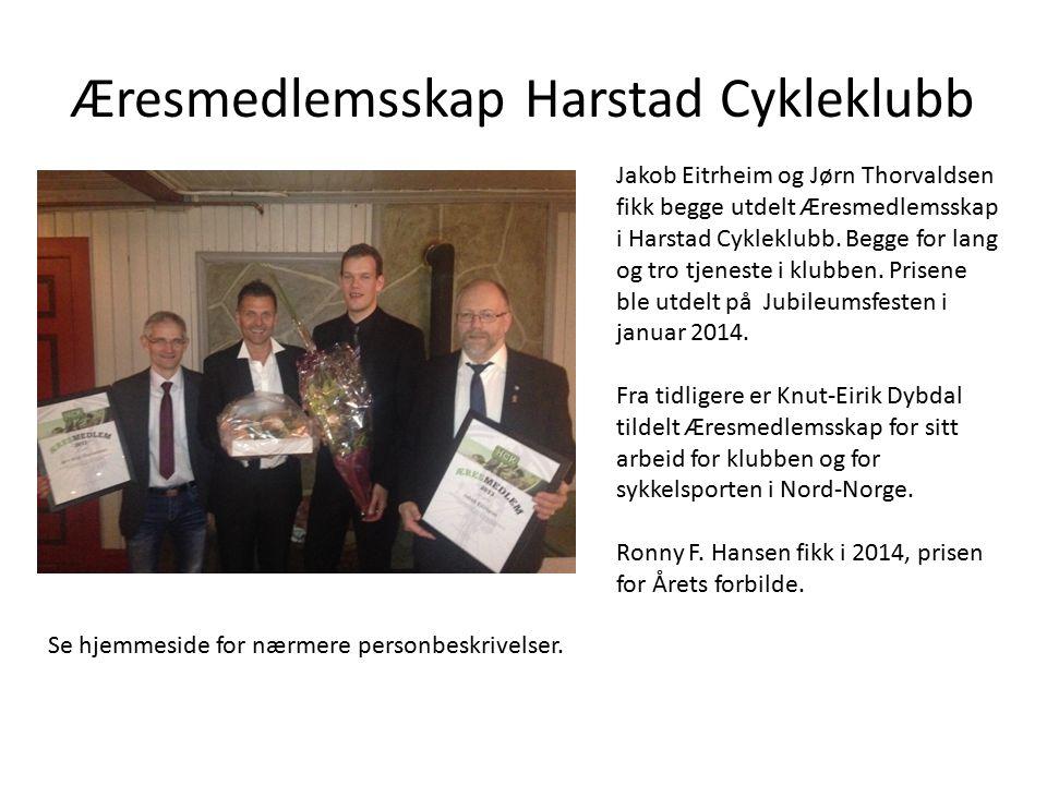 Æresmedlemsskap Harstad Cykleklubb Jakob Eitrheim og Jørn Thorvaldsen fikk begge utdelt Æresmedlemsskap i Harstad Cykleklubb. Begge for lang og tro tj