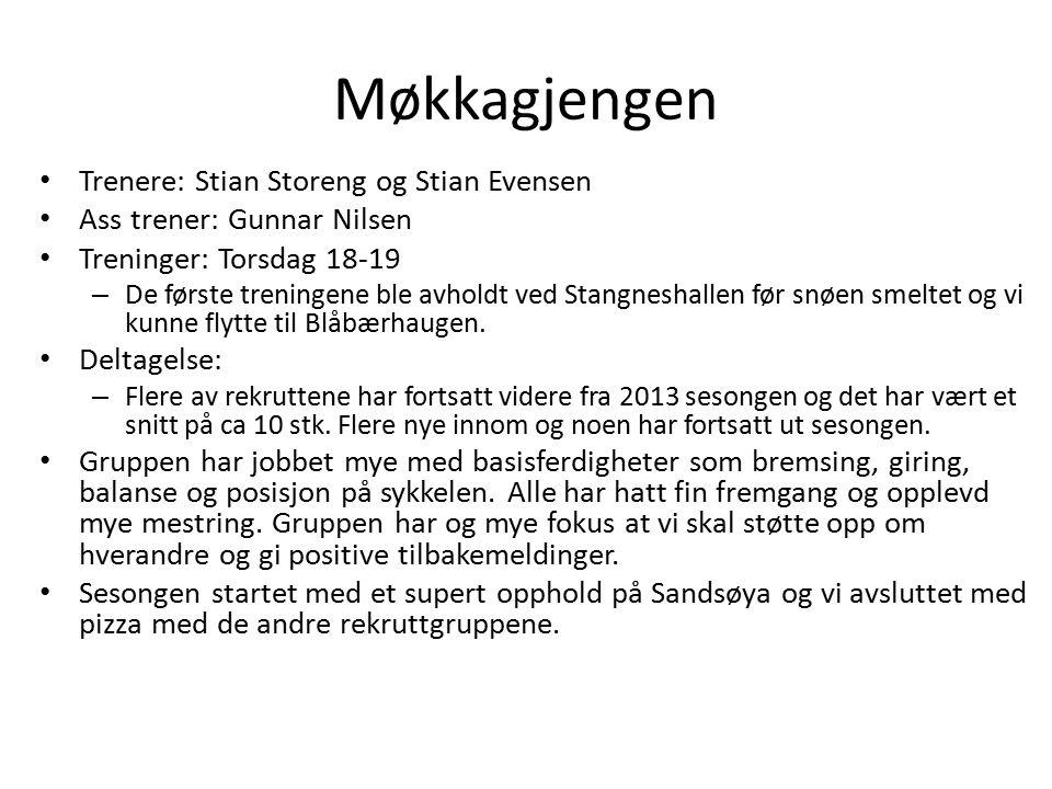 Møkkagjengen Trenere: Stian Storeng og Stian Evensen Ass trener: Gunnar Nilsen Treninger: Torsdag 18-19 – De første treningene ble avholdt ved Stangne