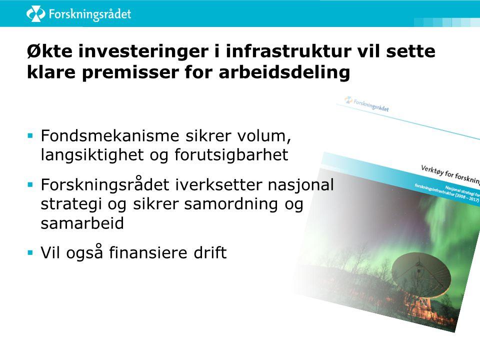 Økte investeringer i infrastruktur vil sette klare premisser for arbeidsdeling  Fondsmekanisme sikrer volum, langsiktighet og forutsigbarhet  Forskningsrådet iverksetter nasjonal strategi og sikrer samordning og samarbeid  Vil også finansiere drift