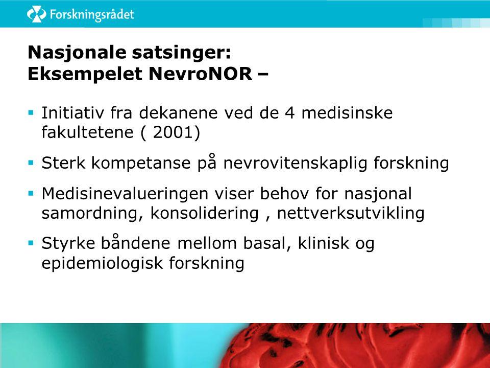 Nasjonale satsinger: Eksempelet NevroNOR –  Initiativ fra dekanene ved de 4 medisinske fakultetene ( 2001)  Sterk kompetanse på nevrovitenskaplig forskning  Medisinevalueringen viser behov for nasjonal samordning, konsolidering, nettverksutvikling  Styrke båndene mellom basal, klinisk og epidemiologisk forskning