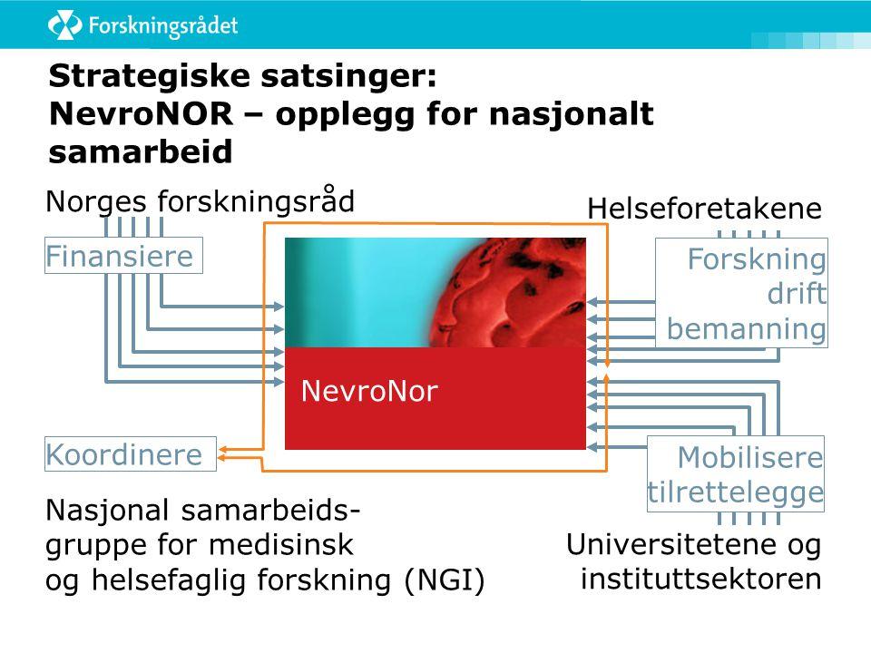 Strategiske satsinger: NevroNOR – opplegg for nasjonalt samarbeid Norges forskningsråd Universitetene og instituttsektoren Nasjonal samarbeids- gruppe for medisinsk og helsefaglig forskning (NGI) Helseforetakene Koordinere Finansiere Forskning drift bemanning Mobilisere tilrettelegge NevroNor
