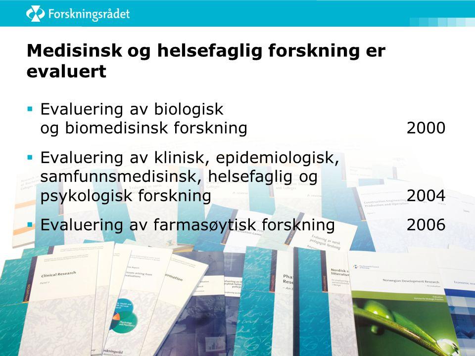 Medisinsk og helsefaglig forskning er evaluert  Evaluering av biologisk og biomedisinsk forskning2000  Evaluering av klinisk, epidemiologisk, samfunnsmedisinsk, helsefaglig og psykologisk forskning2004  Evaluering av farmasøytisk forskning2006