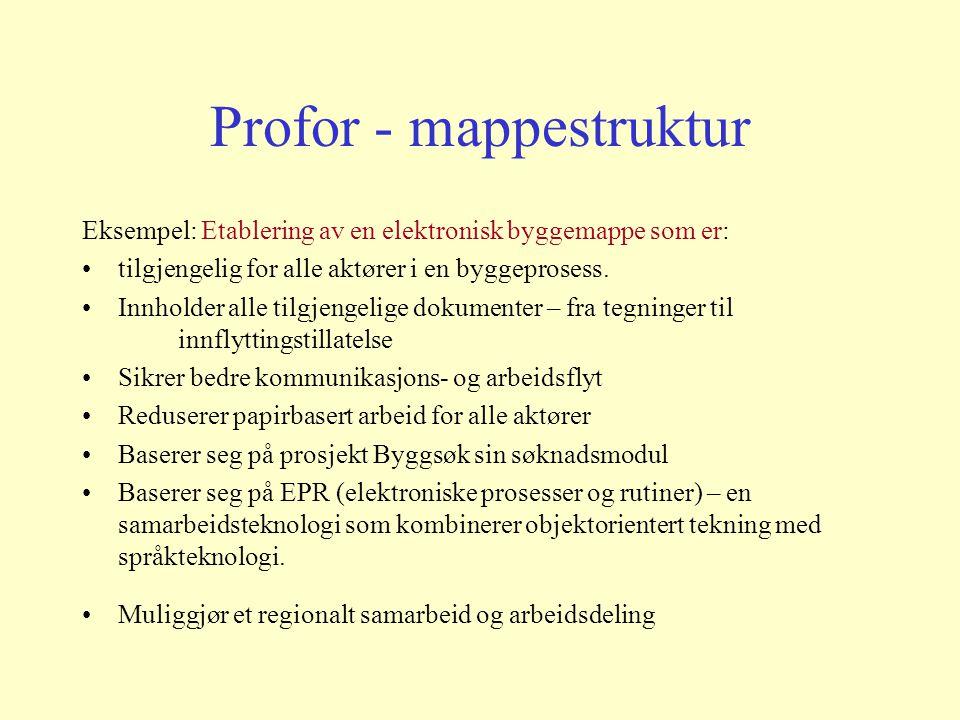 Teknologi som motor i fornyelsesarbeidet Bredbånd Høykom Eidsiva Profor – fornyelsesprogram for offentlig sektor –Utvikling av arbeidsmapper – med standardisert brukergrensesnitt –Piloter: Åpen omsorg og byggesaksbehandling