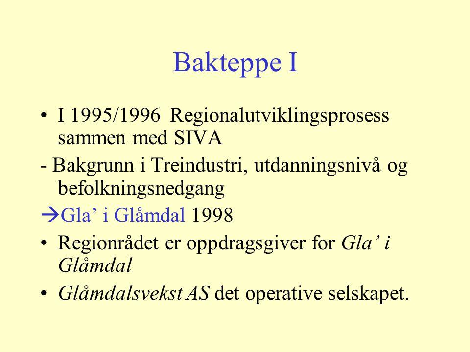 Bakteppe I I 1995/1996 Regionalutviklingsprosess sammen med SIVA - Bakgrunn i Treindustri, utdanningsnivå og befolkningsnedgang  Gla' i Glåmdal 1998 Regionrådet er oppdragsgiver for Gla' i Glåmdal Glåmdalsvekst AS det operative selskapet.