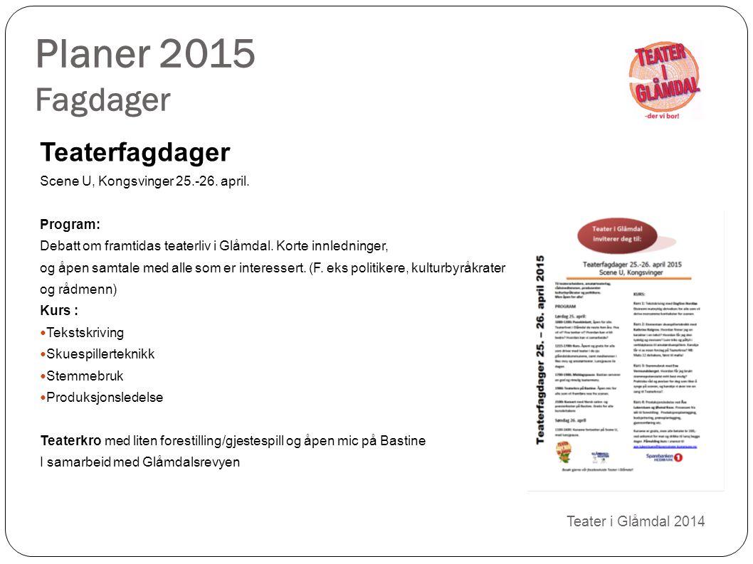 Planer 2015 Fagdager Teater i Glåmdal 2014 Teaterfagdager Scene U, Kongsvinger 25.-26. april. Program: Debatt om framtidas teaterliv i Glåmdal. Korte
