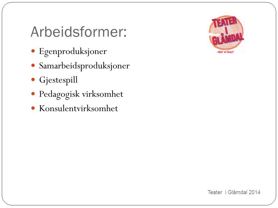 Arbeidsformer: Egenproduksjoner Samarbeidsproduksjoner Gjestespill Pedagogisk virksomhet Konsulentvirksomhet Teater i Glåmdal 2014