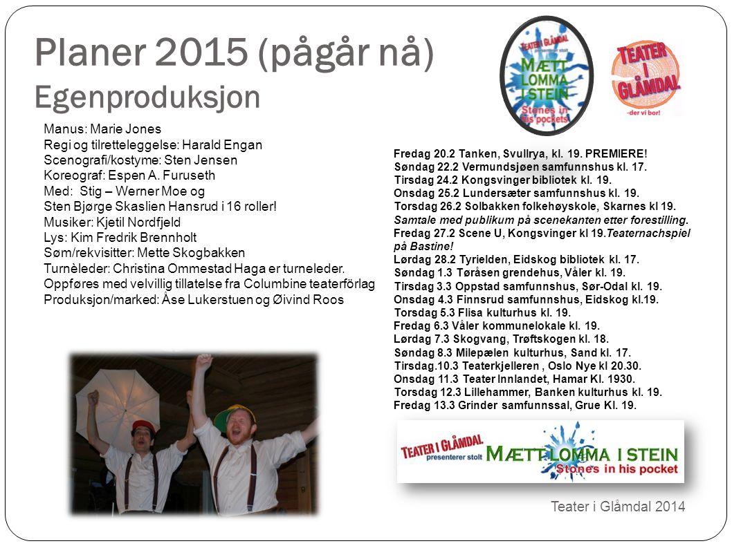 Planer 2015 (pågår nå) Egenproduksjon Teater i Glåmdal 2014 Manus: Marie Jones Regi og tilretteleggelse: Harald Engan Scenografi/kostyme: Sten Jensen