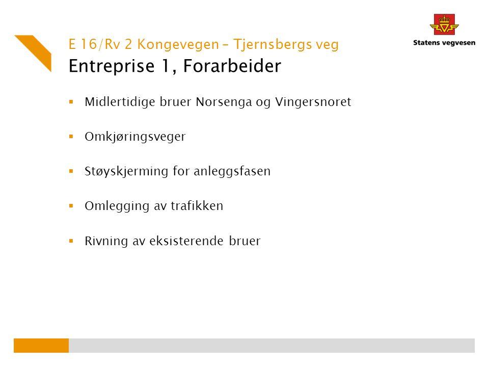 Entreprise 1, Forarbeider  Midlertidige bruer Norsenga og Vingersnoret  Omkjøringsveger  Støyskjerming for anleggsfasen  Omlegging av trafikken 