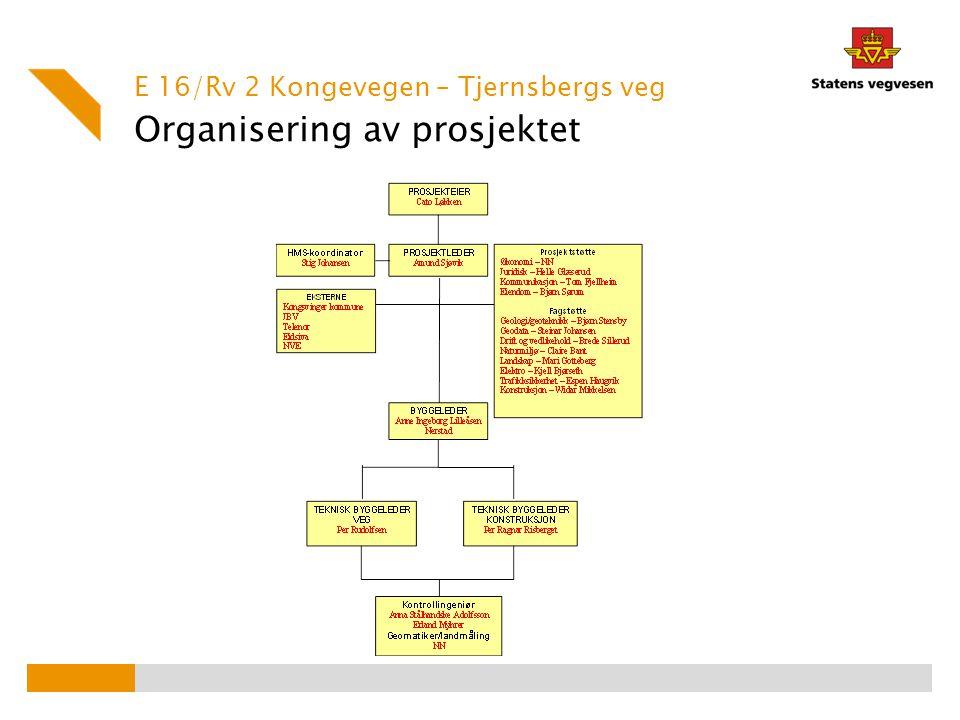 Organisering av prosjektet E 16/Rv 2 Kongevegen – Tjernsbergs veg