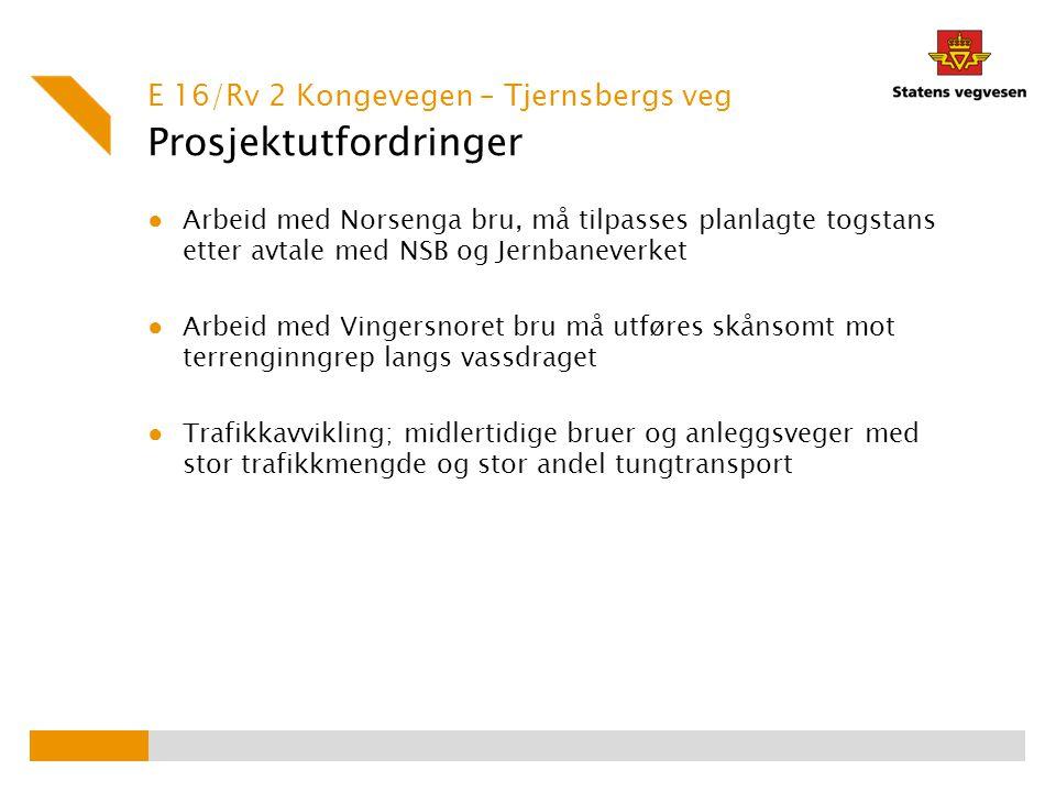 Prosjektutfordringer ● Arbeid med Norsenga bru, må tilpasses planlagte togstans etter avtale med NSB og Jernbaneverket ● Arbeid med Vingersnoret bru m