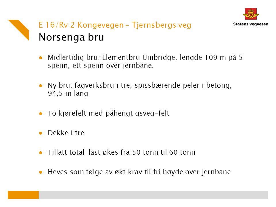 Norsenga bru ● Midlertidig bru: Elementbru Unibridge, lengde 109 m på 5 spenn, ett spenn over jernbane. ● Ny bru: fagverksbru i tre, spissbærende pele