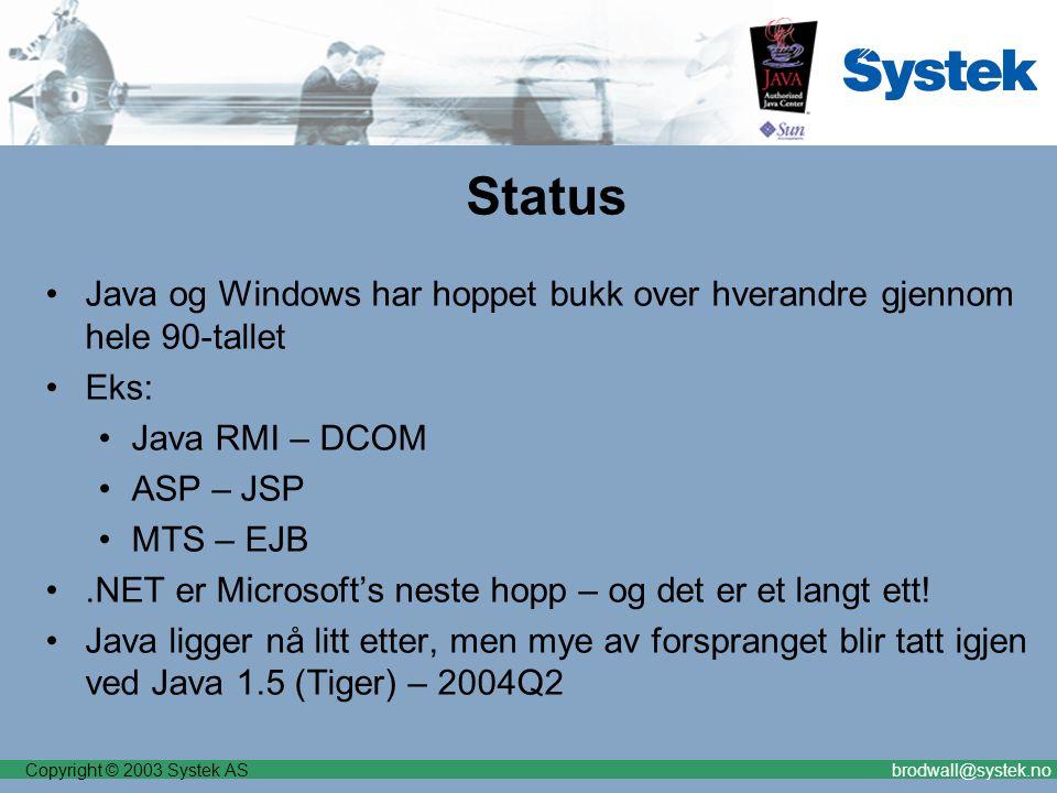 Copyright © 2003 Systek ASbrodwall@systek.no Status Java og Windows har hoppet bukk over hverandre gjennom hele 90-tallet Eks: Java RMI – DCOM ASP – JSP MTS – EJB.NET er Microsoft's neste hopp – og det er et langt ett.