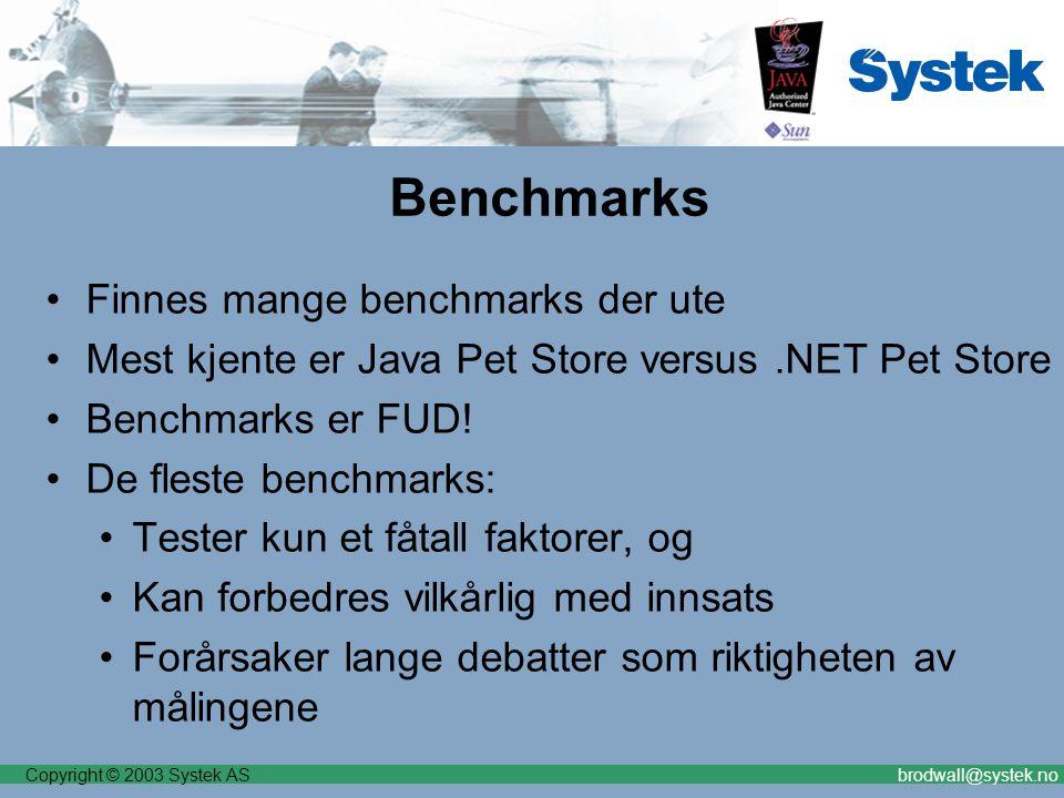 Copyright © 2003 Systek ASbrodwall@systek.no Benchmarks Finnes mange benchmarks der ute Mest kjente er Java Pet Store versus.NET Pet Store Benchmarks er FUD.