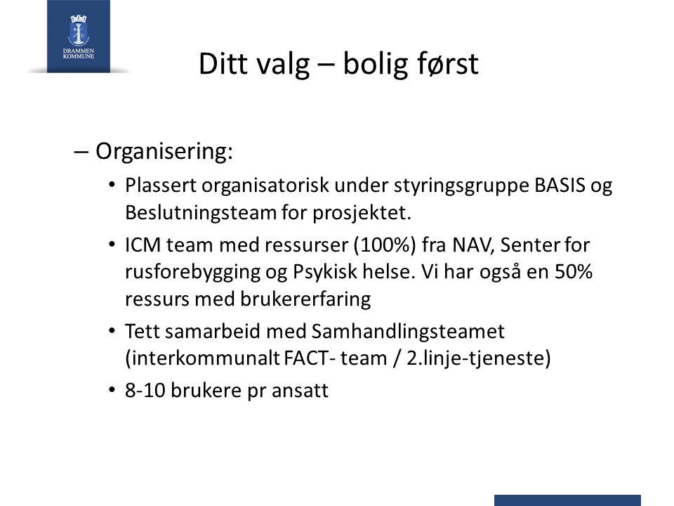 Ditt valg – bolig først – Organisering: Plassert organisatorisk under styringsgruppe BASIS og Beslutningsteam for prosjektet.