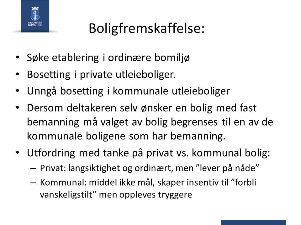 Boligfremskaffelse: Søke etablering i ordinære bomiljø Bosetting i private utleieboliger.