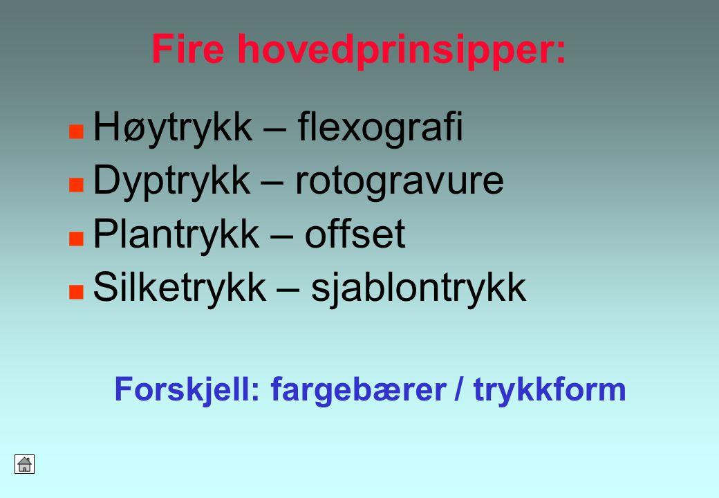 Fire hovedprinsipper: Høytrykk – flexografi Dyptrykk – rotogravure Plantrykk – offset Silketrykk – sjablontrykk Forskjell: fargebærer / trykkform