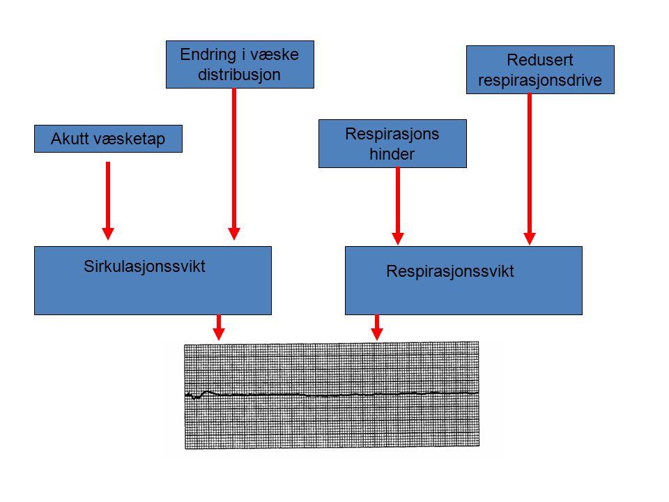 Akutt væsketap Endring i væske distribusjon Respirasjons hinder Redusert respirasjonsdrive Sirkulasjonssvikt Respirasjonssvikt