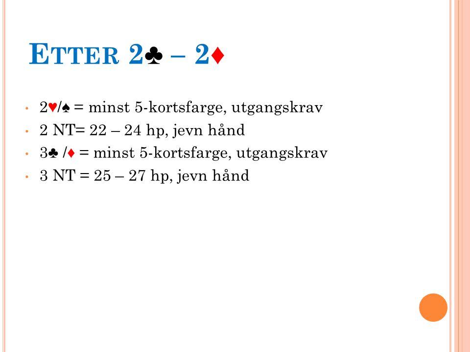 E TTER 2♣ – 2♦ 2♥/♠ = minst 5-kortsfarge, utgangskrav 2 NT= 22 – 24 hp, jevn hånd 3♣ /♦ = minst 5-kortsfarge, utgangskrav 3 NT = 25 – 27 hp, jevn hånd