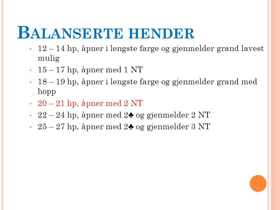 B ALANSERTE HENDER 12 – 14 hp, åpner i lengste farge og gjenmelder grand lavest mulig 15 – 17 hp, åpner med 1 NT 18 – 19 hp, åpner i lengste farge og gjenmelder grand med hopp 20 – 21 hp, åpner med 2 NT 22 – 24 hp, åpner med 2♣ og gjenmelder 2 NT 25 – 27 hp, åpner med 2♣ og gjenmelder 3 NT