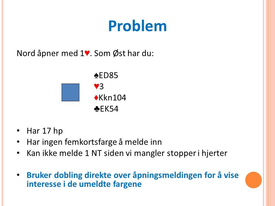 Problem Nord åpner med 1 ♥.