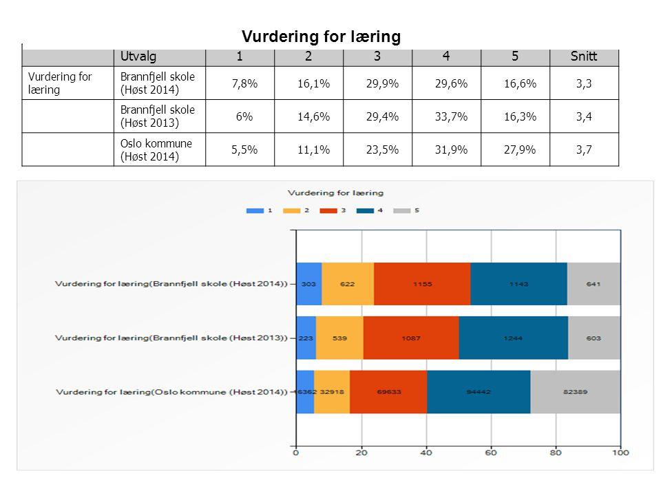 3 Utvalg12345Snitt Vurdering for læring Brannfjell skole (Høst 2014) 7,8% 16,1% 29,9% 29,6% 16,6%3,3 Brannfjell skole (Høst 2013) 6% 14,6% 29,4% 33,7%