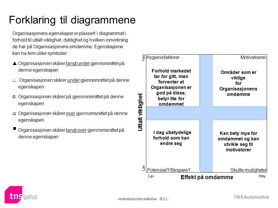 TNS Automotive verkstedundersøkelse B.I.L. Forklaring til diagrammene Organisasjonens egenskaper er plassert i diagrammet i forhold til uttalt viktigh
