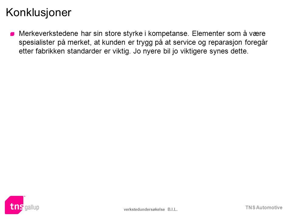 TNS Automotive verkstedundersøkelse B.I.L. Konklusjoner Merkeverkstedene har sin store styrke i kompetanse. Elementer som å være spesialister på merke