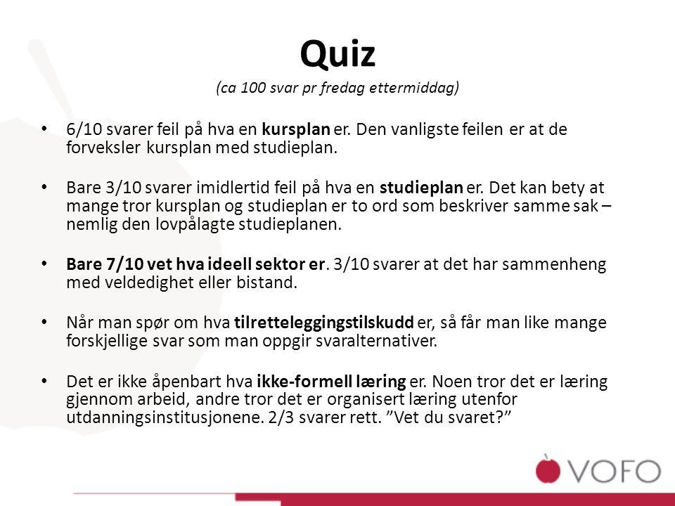Quiz (ca 100 svar pr fredag ettermiddag) 6/10 svarer feil på hva en kursplan er.