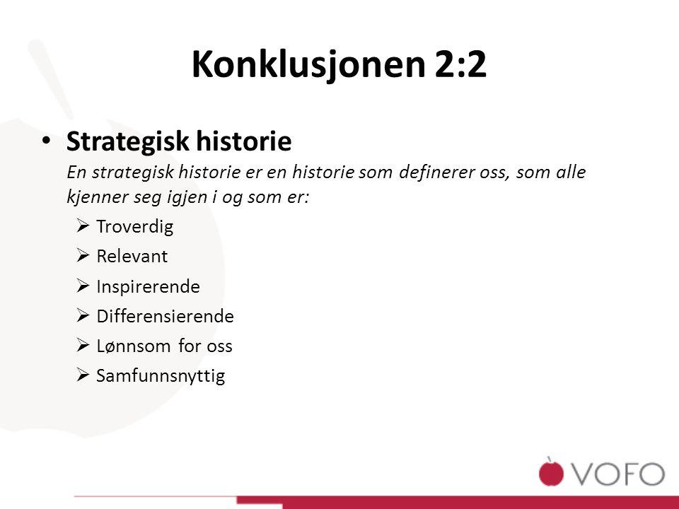 Konklusjonen 2:2 Strategisk historie En strategisk historie er en historie som definerer oss, som alle kjenner seg igjen i og som er:  Troverdig  Relevant  Inspirerende  Differensierende  Lønnsom for oss  Samfunnsnyttig