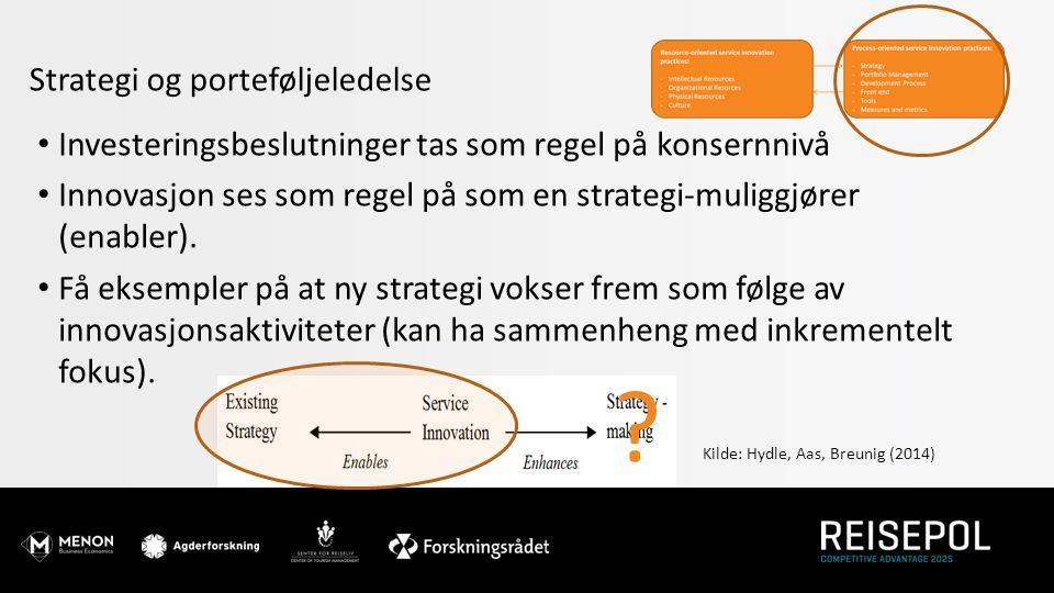 Strategi og porteføljeledelse Investeringsbeslutninger tas som regel på konsernnivå Innovasjon ses som regel på som en strategi-muliggjører (enabler).