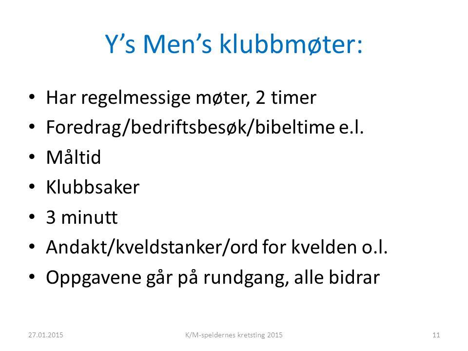 Y's Men's klubbmøter: Har regelmessige møter, 2 timer Foredrag/bedriftsbesøk/bibeltime e.l.