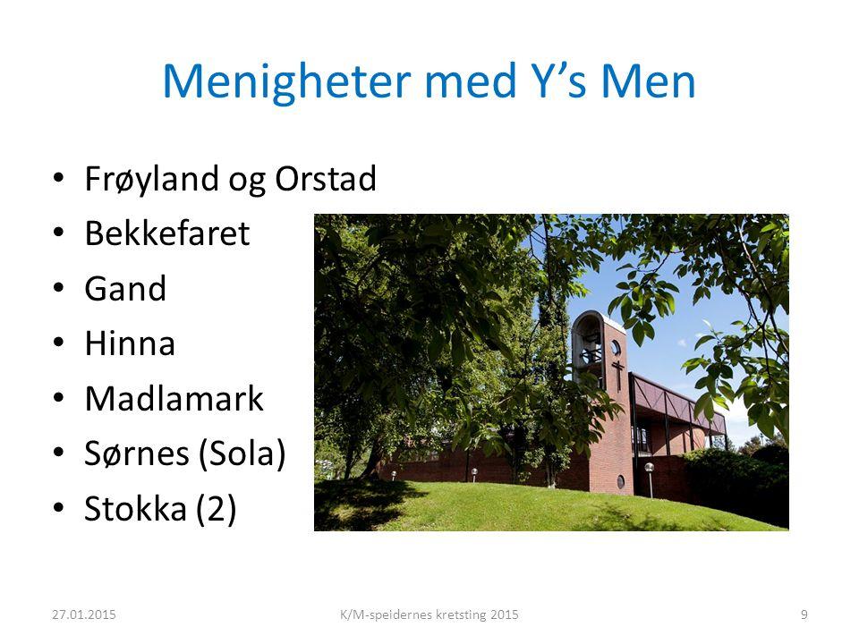 Menigheter med Y's Men Frøyland og Orstad Bekkefaret Gand Hinna Madlamark Sørnes (Sola) Stokka (2) 27.01.2015K/M-speidernes kretsting 20159