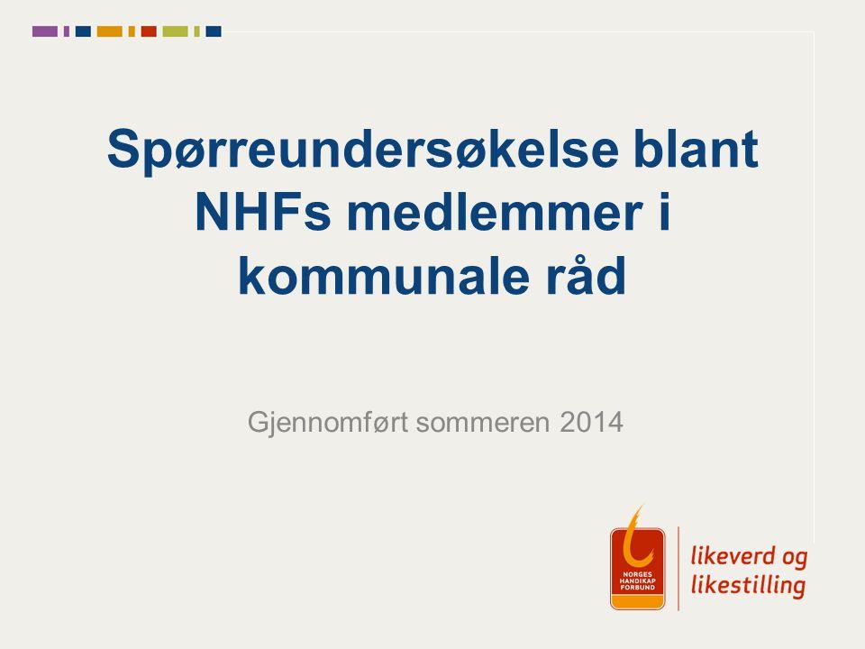 Spørreundersøkelse blant NHFs medlemmer i kommunale råd Gjennomført sommeren 2014