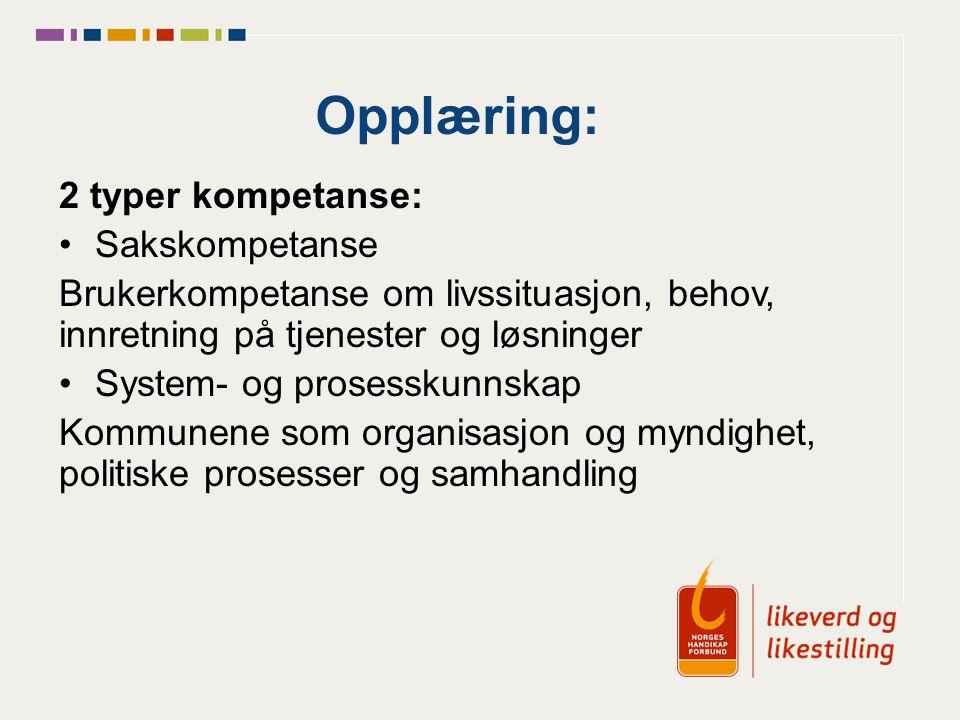 Opplæring: 2 typer kompetanse: Sakskompetanse Brukerkompetanse om livssituasjon, behov, innretning på tjenester og løsninger System- og prosesskunnskap Kommunene som organisasjon og myndighet, politiske prosesser og samhandling
