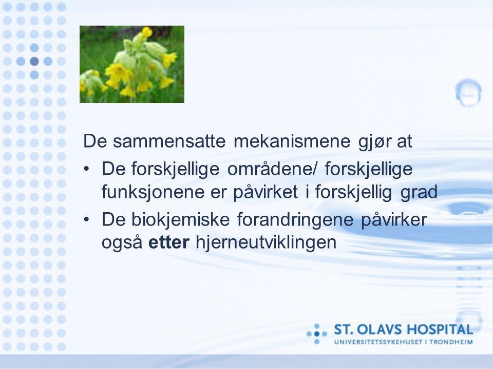 De sammensatte mekanismene gjør at De forskjellige områdene/ forskjellige funksjonene er påvirket i forskjellig grad De biokjemiske forandringene påvi