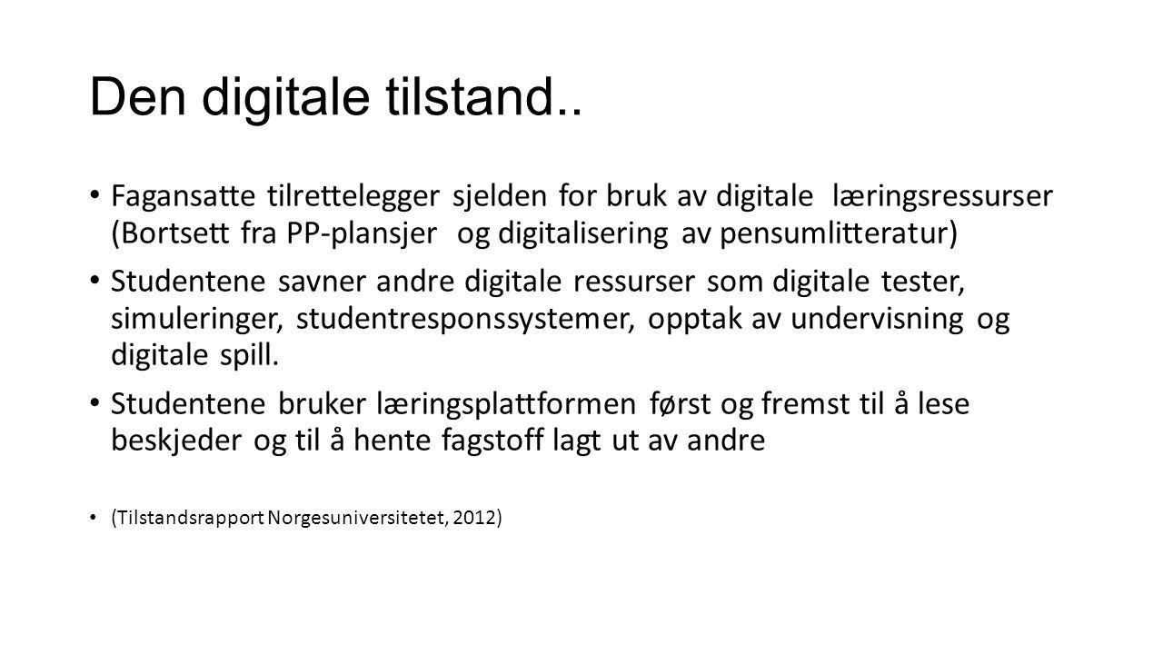 Den digitale tilstand.. Fagansatte tilrettelegger sjelden for bruk av digitale læringsressurser (Bortsett fra PP-plansjer og digitalisering av pensuml