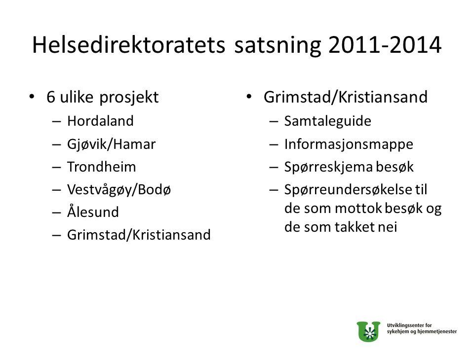 Helsedirektoratets satsning 2011-2014 6 ulike prosjekt – Hordaland – Gjøvik/Hamar – Trondheim – Vestvågøy/Bodø – Ålesund – Grimstad/Kristiansand Grims