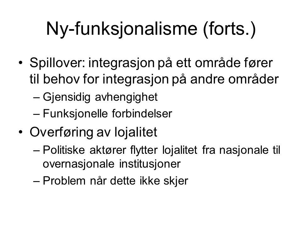 Ny-funksjonalisme (forts.) Spillover: integrasjon på ett område fører til behov for integrasjon på andre områder –Gjensidig avhengighet –Funksjonelle