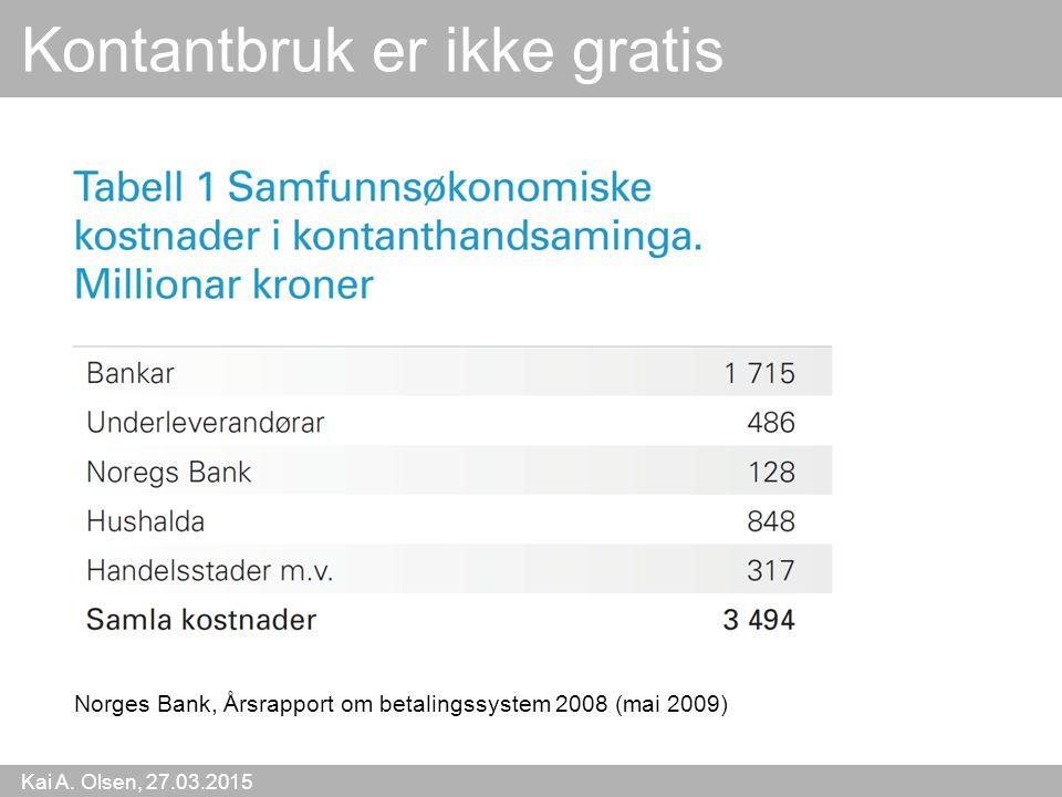 Kai A. Olsen, 27.03.2015 20 Kontantbruk er ikke gratis Norges Bank, Årsrapport om betalingssystem 2008 (mai 2009)